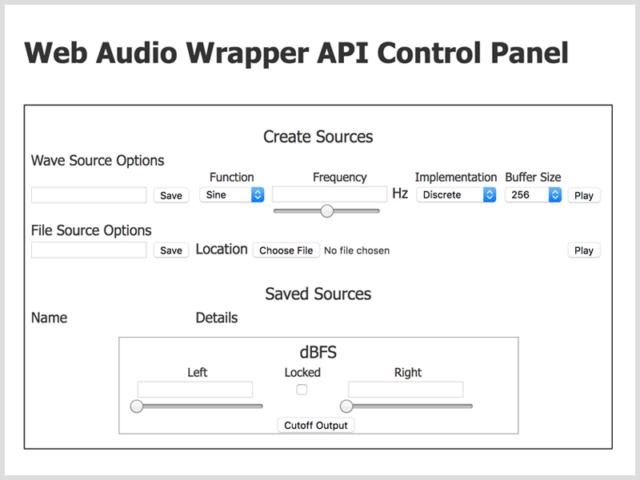 Web audio wrapper API control panel