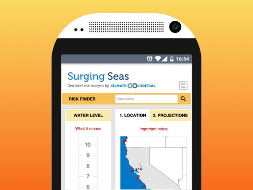 "Screenshot of the ""Surging Seas Surging Seas Risk Finder"" webapp developed at Bocoup, displayed on a stylized illustration of a phone."