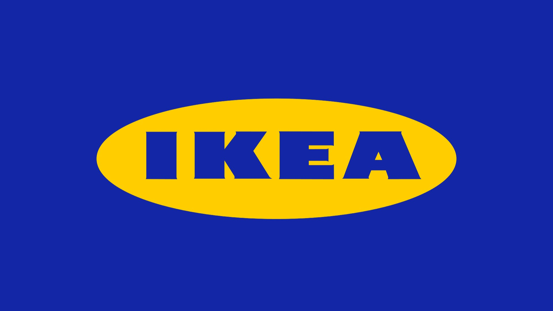 The IKEA logo isolated on a blue background