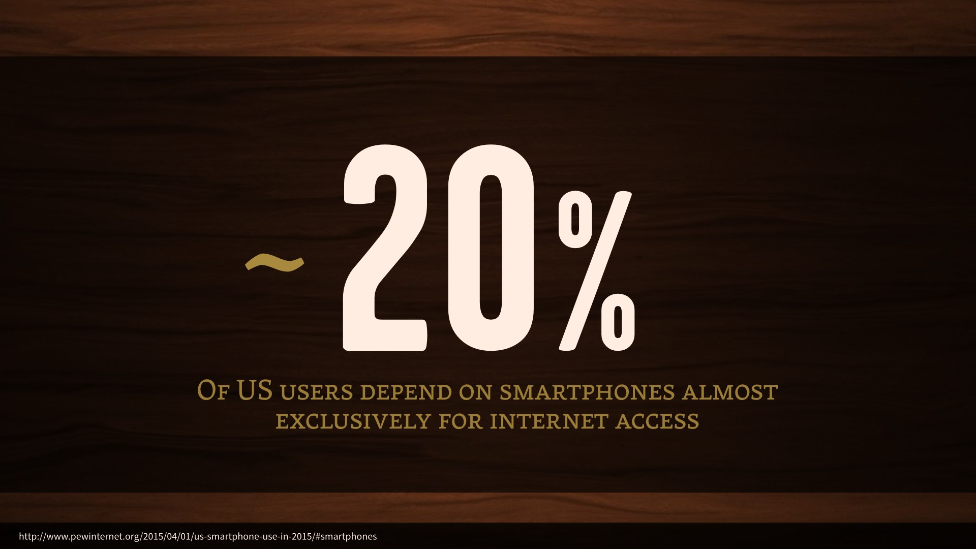 Roughly 20% of US users depend on smartphones almost exclusively for internet access