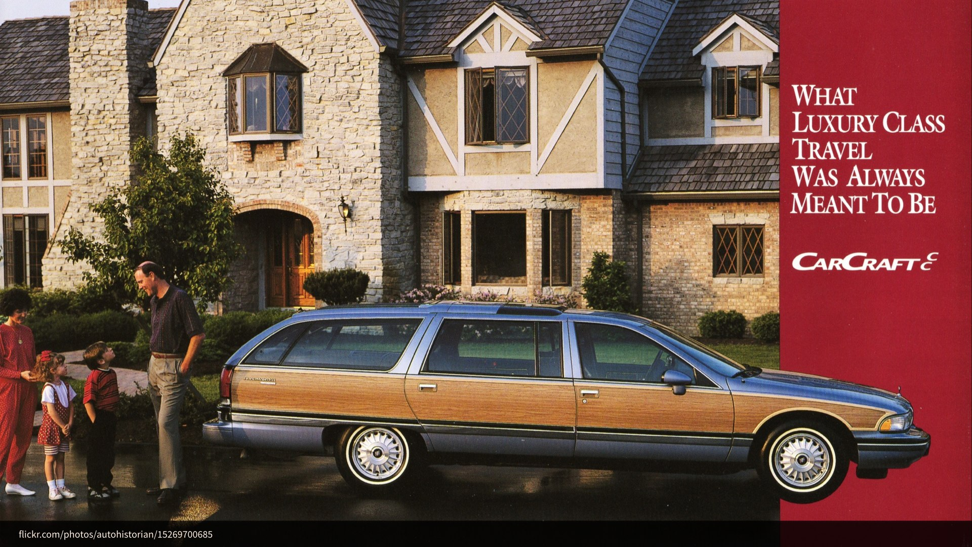 A dated advertisement for a wood-paneled station wagon
