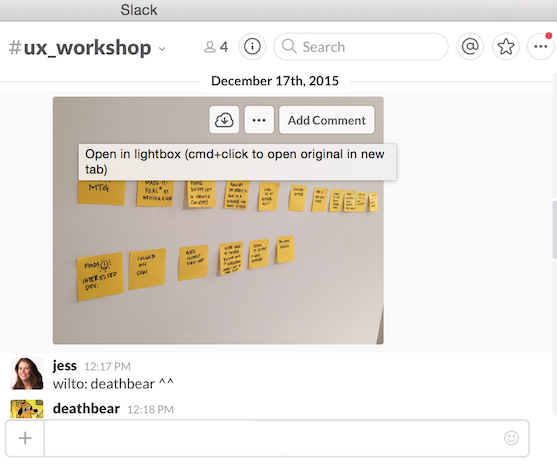 Screenshot of the #ux_workshop slack channel at bocoup