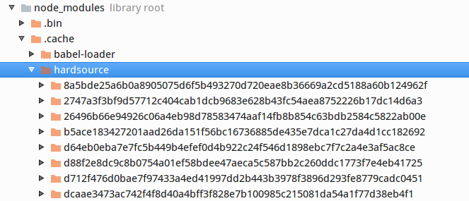 screenshot of the hardsource cache directory tree