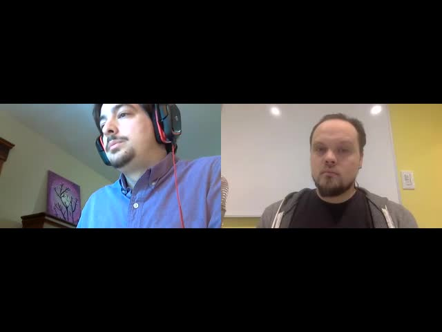 Split screen of Matt and Z taking questions at the webpack screencast