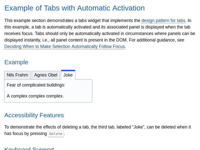 Screenshot of Example of Tabs with Automatic Activation