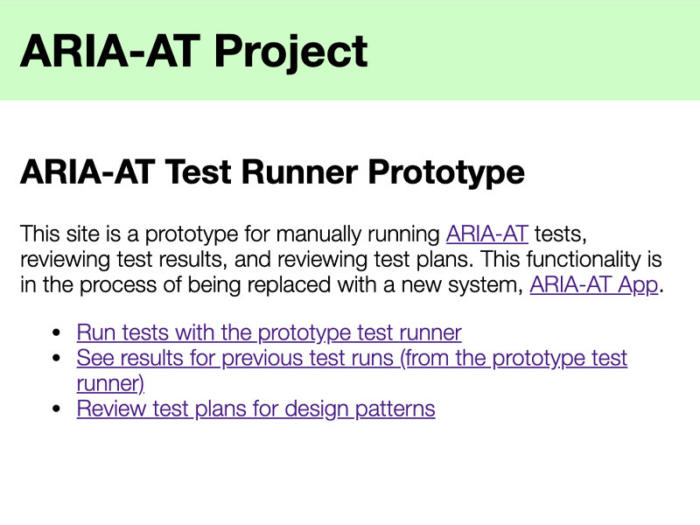 Screenshot of the Aria-AT Test Runner Prototype home page.