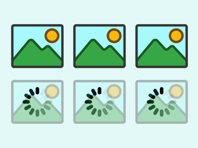 Illustration of six images where the three are loaded and the other three are loading