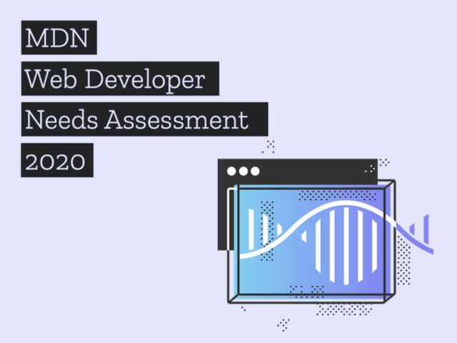 MDN Web Developer Needs Assessment 2020 and an abstract illustration of a chart that resembles DNA